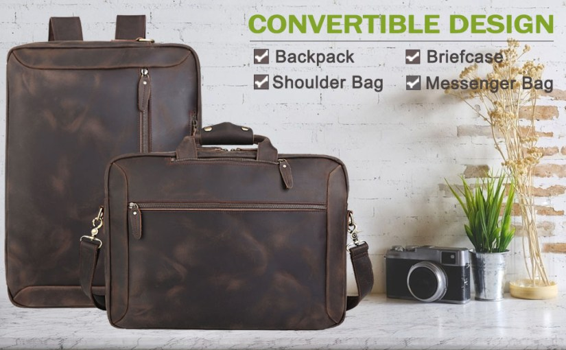 convertible briefcase backpack leather