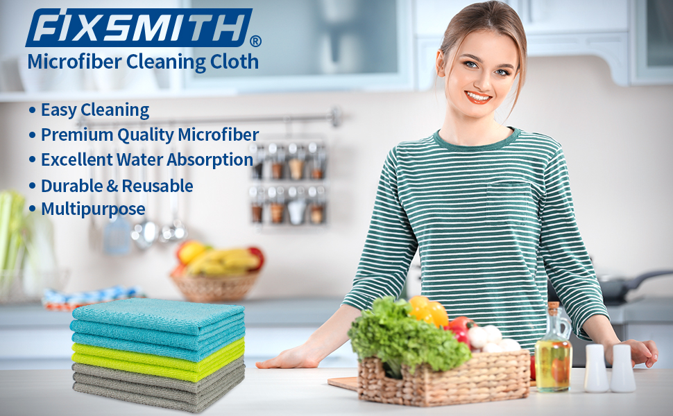 FIXSMITH Microfiber Cleaning Cloth-8 Pack