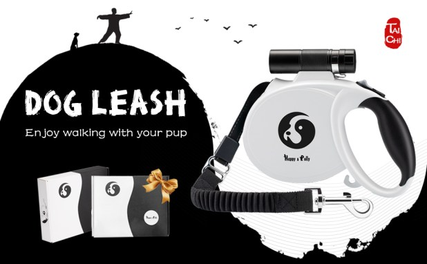 Dog leash retractable for medium large dogs flashlight poop bag dispenser ft thick cord ribbon