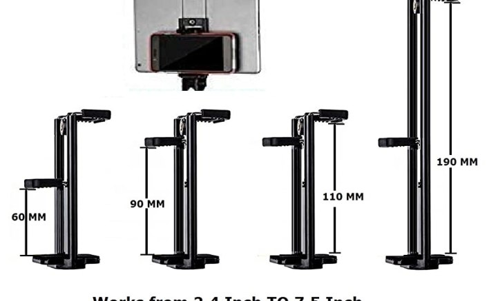 TABLET MOBILE 2 IN 1 DUAL DOUBLE HOLDER CLIP BRACKET MOUNT ADAPTER TRIPOD SELFY CAMERA STAND MONOPOD