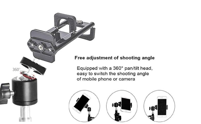 DUAL TWO MOBILE PHONE HOLDER FOR CAMERA STAND DOUBLE IPAD TABLET 8 7 6 9 INCH BIG MOUNT TOP HEAD PAN