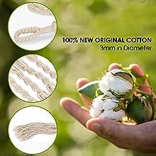 macrame cotton plant hanger
