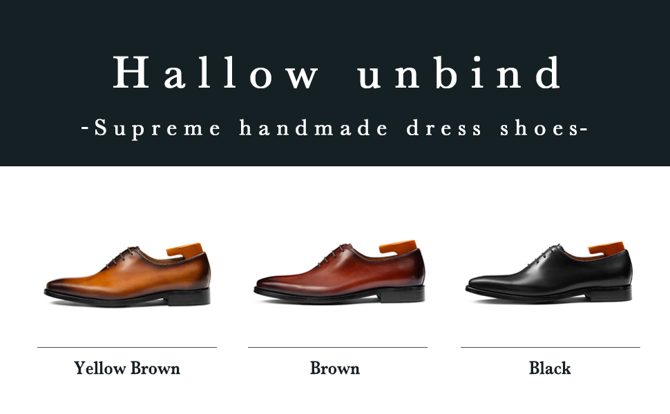 Hallow unbind Men's Handmade Dress Shoes Full Grain Leather Wholecut Oxford Formal Shoes for Men