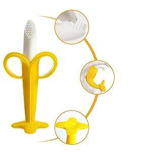 Jouet de dentition pour bébé banane avec plusieurs rainures texturées pour masser les dents et les gencives de bébé