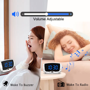 wake to radio or buzzer clock radios