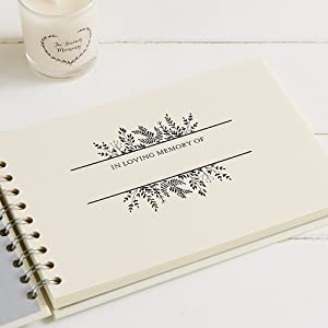 book of condolence, memory book ivory, small memory book, funeral guest book