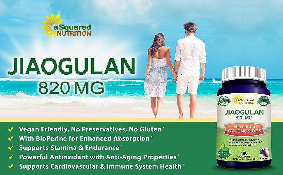 Jiaogulan 820mg 1000mg 180 count 120 90 60 vegan BioPerine vegetarian gypenosides panax ginseng