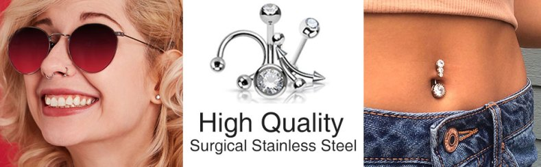 STAINLESS STEEL BARBELLS WITH BELLY PIERCIG AND NOSE PIERCING
