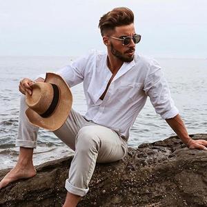 COOFANDY Men's Slim Fit Henley Neck Cotton Linen Shirts Casual Long Sleeve Basic Shirts
