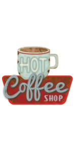 hot coffee shop metal sign