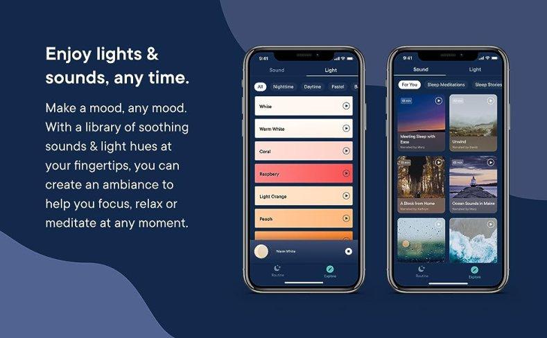 sleep app, sound machine, light, alarm