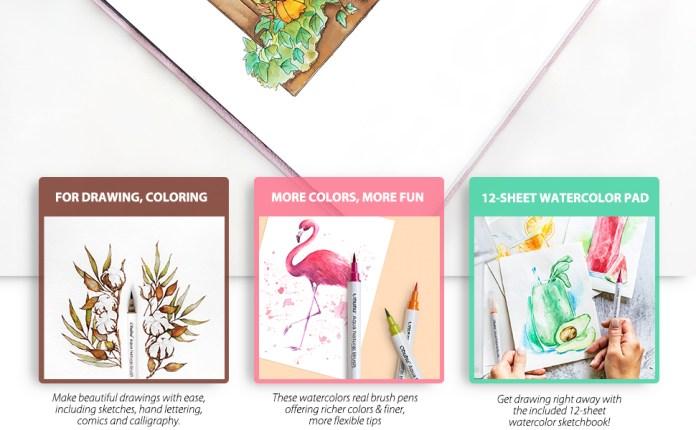Watercolor Brush Markers Pens