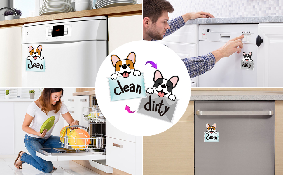 Sylfairy 3.5'' Dishwasher Magnet Clean Dirty Sign
