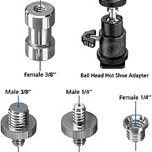 1/4 to 3/8 adaptor screw set for light stand tripod monopod