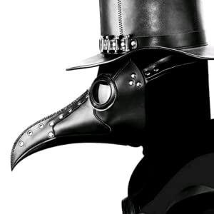 Black PU Leather Plague Doctor Mask