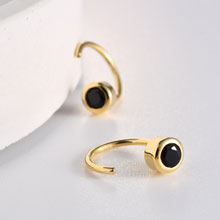 Huggie Hoop Earring Gold Plated 925 Sterling Silver Black CZ Huggie Earrings for Women