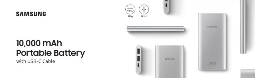 Samsung 10,000 mAh Portable Battery with USB-C Cable