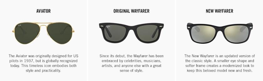 The Icons: Aviator, Original Wayfarer and New Wayfarer