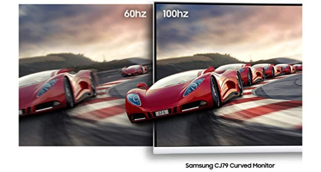Comparison of a monitor with 60 hz refresh rate vs Samsung CJ79 Curved Monitor's 100 hz