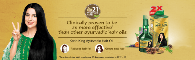Kesh King Ayurvedic Hair Oil for reducing hair fall and growing new hair. 2x more effective
