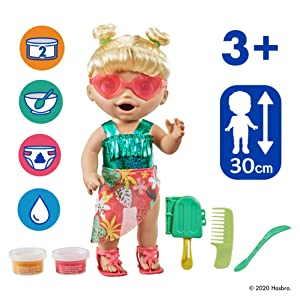 baby alive sunshine snacks doll; summer doll with popsicle; realistic baby dolls; doll that eats