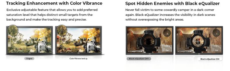 tracking color vibrance color accuracy adjustable saturation black equalizer dark spot corner levels