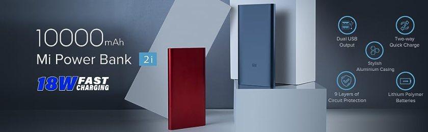 Mi 10k Power Bank, 18 Watt Fast Charging, Dual USB Output, Lithium Polymer Battery