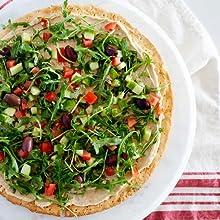 HUMMUS PIZZA WITH GREEK SALAD