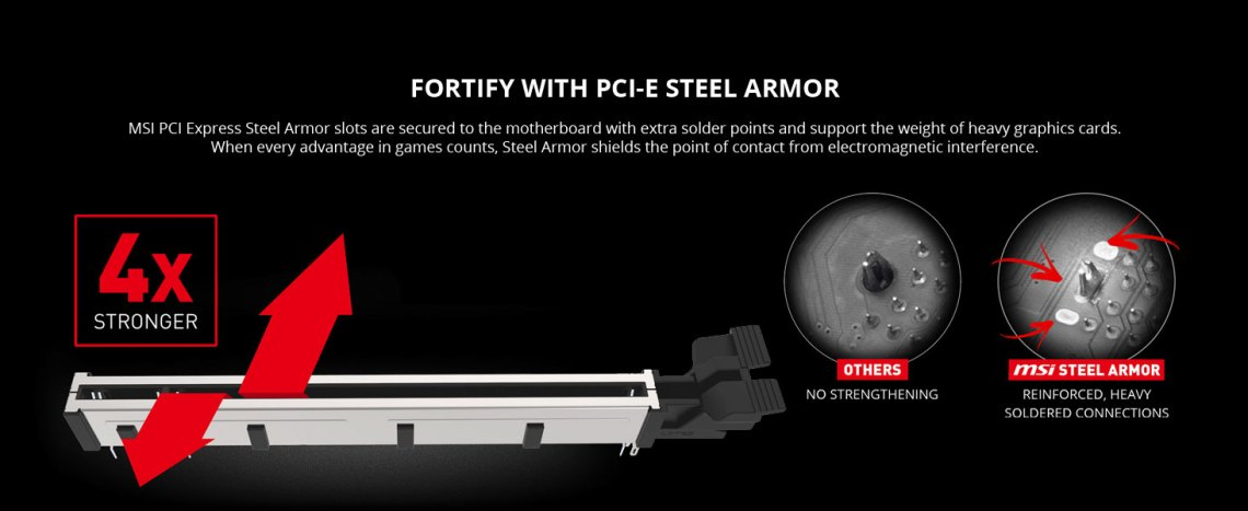 msi, mpg z490 gaming plus, pci-e steel armor, pci express metal slot, shielded, strengthened