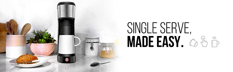 single serve coffee maker electric brewer K cup pods reusable filter fresh grounds instacoffee