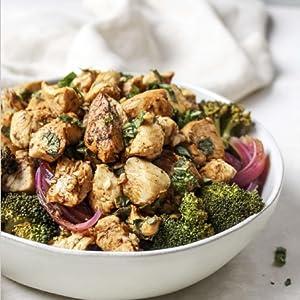 Balsamic basil chicken cauliflower rice bowls