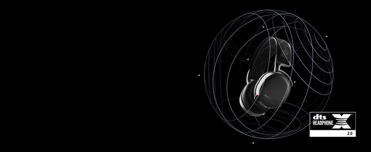 - Arctis 7 DTS surround sound visualization around the headset