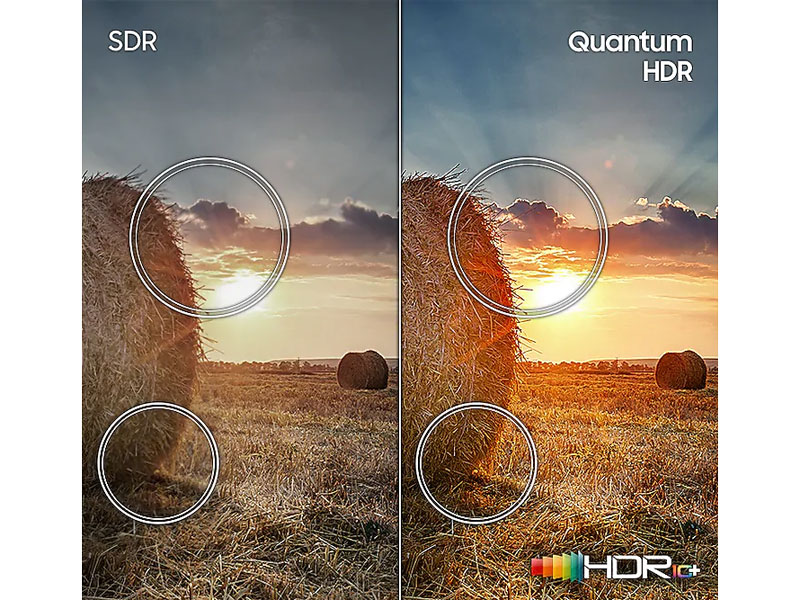 Side-by-side comparison of SDR vs. Quantum HDR