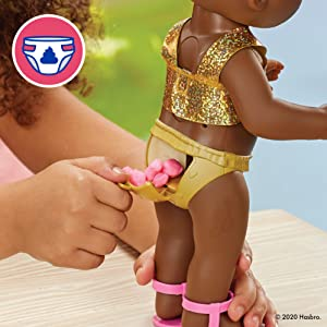 baby alive sunshine snacks doll; summer doll with popsicle; realistic baby dolls; black doll