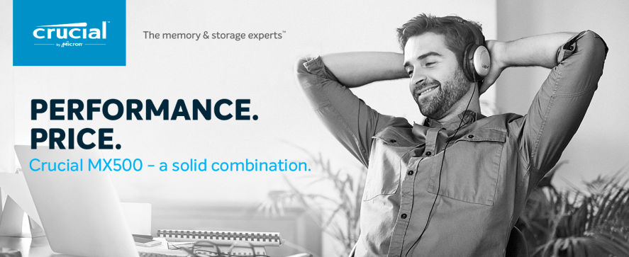Performance. Price. Crucial MX500 - a solid combination.