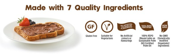 nutella ingredients gluten free palm oil chocolate breakfast spead jar toast bread