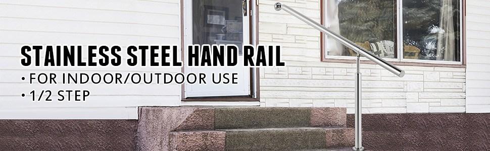 Happybuy Step Handrail Stainless Steel Stair Railing For In And | Stainless Steel Hand Railing | Balustrade | Modern | Fabrication | Welded Steel | Stair Outdoors