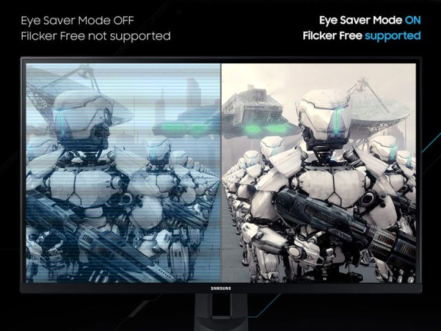 Side-by-side comparison of Eye Saver Mode OFF vs. ON