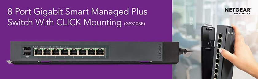 8 port gigabit smart managed plus switch with click mounting gss108e