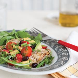 Fish Taco Salad with Strawberry Avocado Salad