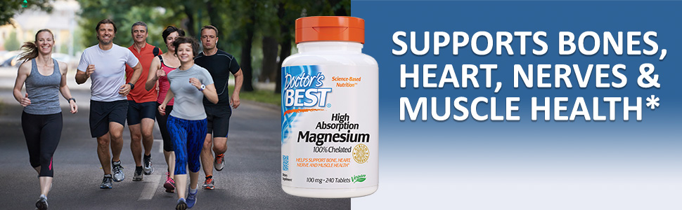 High Absorption 100% Chelated Magnesium bone heart nerve muscle health blood pressure