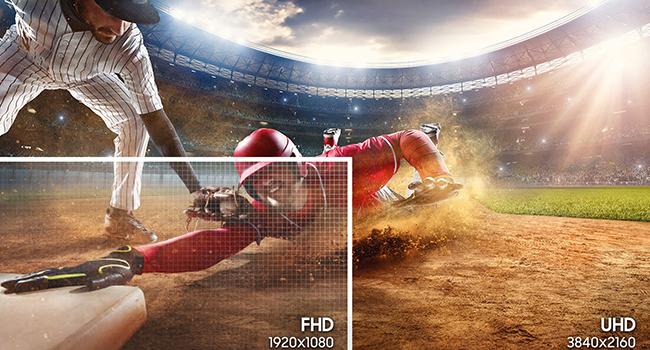 1920x1080 FHD vs. 3840x2160 WQHD resolution side-by-side comparison
