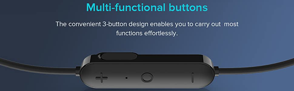 adjustable button, volume adjustment, play/pause, answer/reject calls,earphone pairing, power on/off