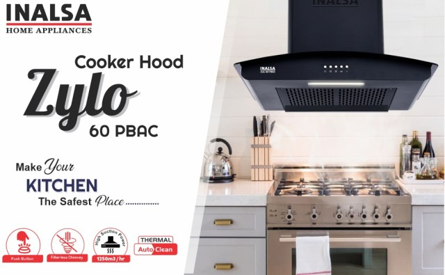 Inalsa, zylo 60PBAC, Cooker Hood, Chimney, Auto Clean, Push Button, Suction : 1200 m 3/hr