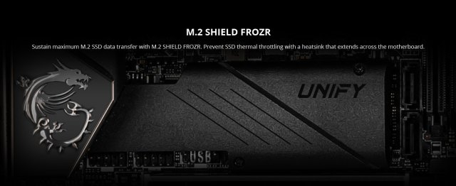 msi, meg z490i unify, itx motherboard, m.2 shield frozr, nvme ssd, heatsink
