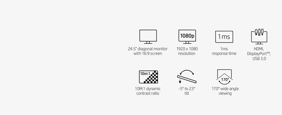 24.5-inch FHD full hd 16:9 1ms HDMI displayport 10M:1 tilt wide angle viewing 1920 x 1080 USB 3.0