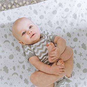 Baby Boy snug celestial chevron stripes playmat bodysuit onesie sleeper