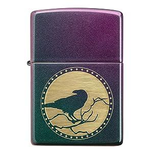 raven lighter, lighter, zippo lighter, zippo animal lighter, red matte, red matte lighter