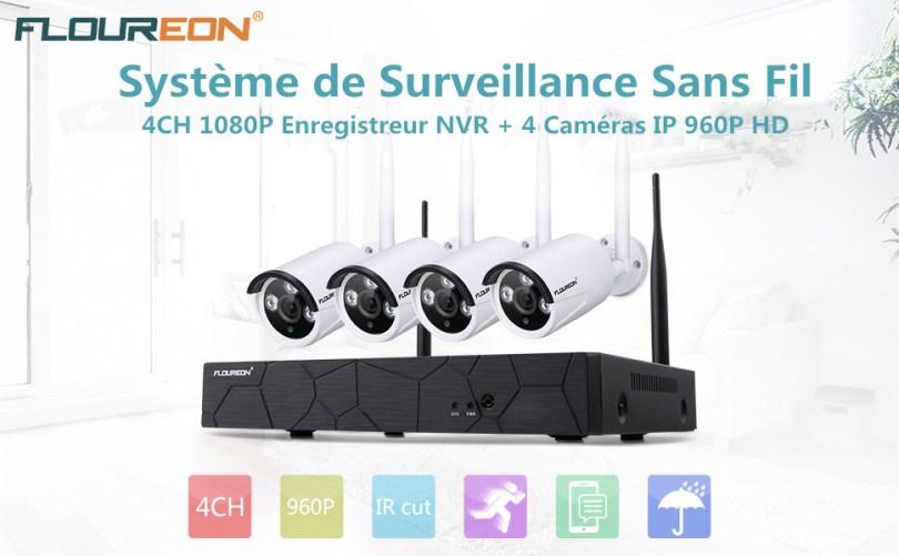 FLOUREON Kit de Surveillance sans Fil 4CH 1080P Enregistreur NVR FLOUREON Kit de Surveillance
