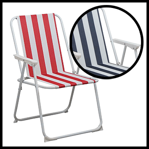Harbour Housewares Traditional Folding Metal Garden Armchairs Chairs Deck Beach Striped
